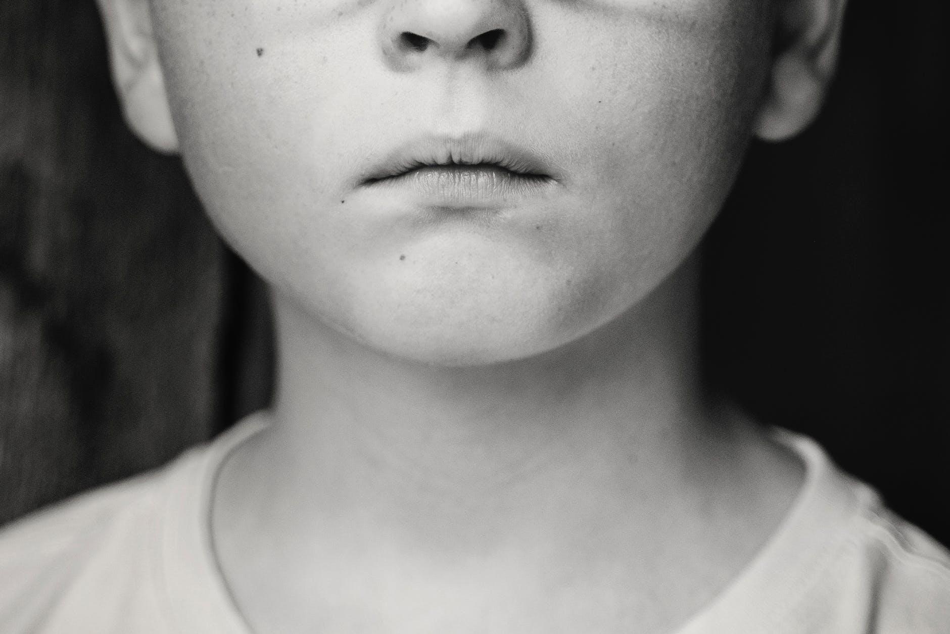 alone black and white blur child