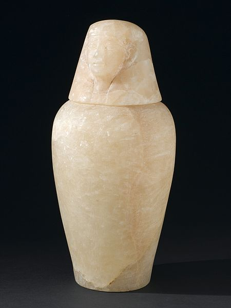 Alabaster_canopic_jar_with_portrait_of_Imseti,_Egyptian,_800_Wellcome_L0058406
